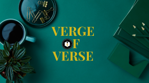 Verge of Verse Banner - styled desk flatlay with green background, coffee mug, and office supplies