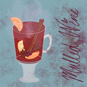 Illustration of mulled wine in a translucent glass mug