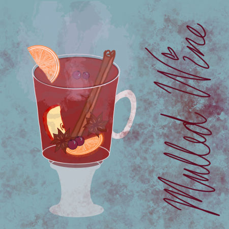 Illustration of mulled wine in a translucent glass mug