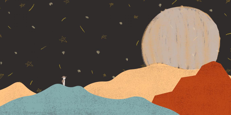 moonlight over mountain